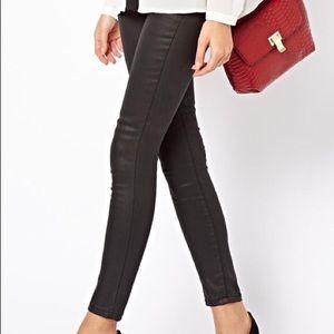 Mango Slim Coated Black Jeans size 0